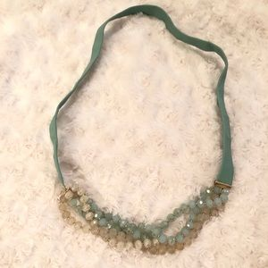 Adorable Leather and Crystal beaded necklace!